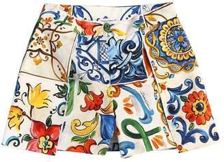 Dolce & Gabbana Maiolica Print Cotton Poplin Shorts
