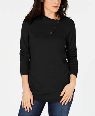Karen Scott Cotton Button-Neck Sweater, Created for Macy's