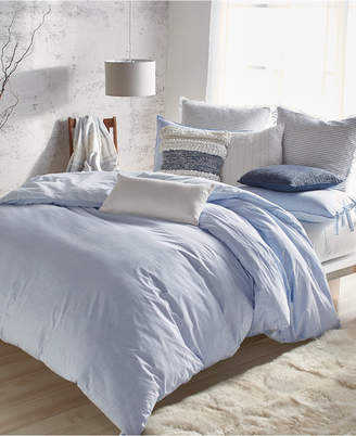 DKNY Pure Eco Cotton 200-Thread Count Reversible Chambray King Duvet Cover Bedding