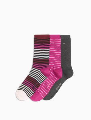 Calvin Klein 3-pack striped combed cottton stretch crew socks