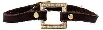 Sydney Evan 14K Diamond Square Leather Bracelet