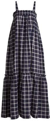 Lee Mathews - Nellie Checked Cotton Apron Dress - Womens - Navy Multi
