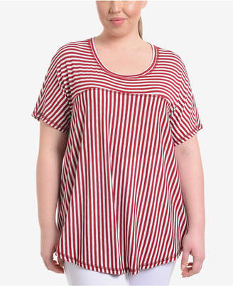 NY Collection Plus Size Striped High-Low Swing Top
