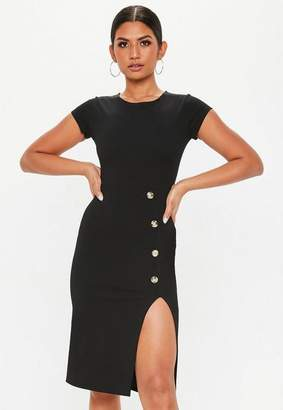 Missguided Black Thigh Split Horn Button Midi Dress