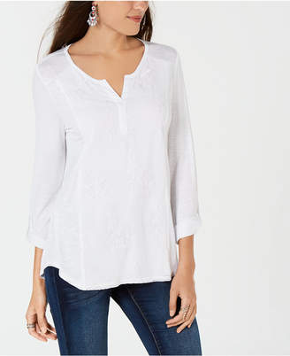 Style&Co. Style & Co Petite Split-Neck Embroidered Tunic