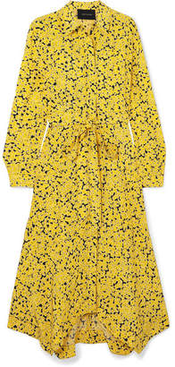 Cédric Charlier Asymmetric Floral-print Silk Crepe De Chine Midi Dress - Yellow