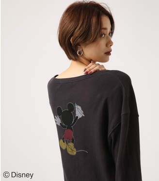 AZUL by moussy (アズール バイ マウジー) - 【AZUL BY MOUSSY】PAINT MICKEY サーマルプルオーバー【MOOK47掲載 97002】 L/BLK