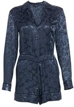 Rag & Bone Rag& Bone Women's Jarvis Floral Jacquard Long-Sleeve Romper - Wet Iron - Size 00