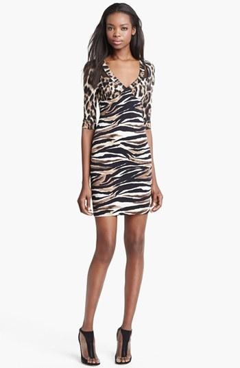 Just Cavalli Leopard & Zebra Print Jersey Dress