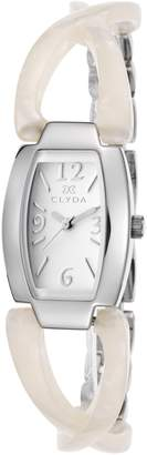 Clyda Clg0111sabw Women's White Acetate And Ss White Dial Ss Watch