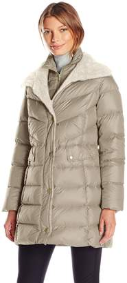Kenneth Cole New York Kenneth Cole Women's Puffer with Faux Shearling Collar