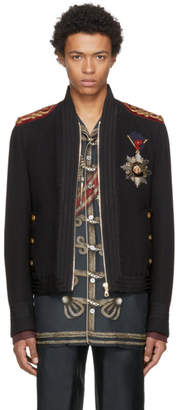 Dolce & Gabbana Black Embellished Bomber Jacket