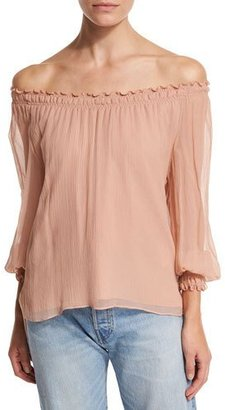 Elizabeth and James Michela Off-the-Shoulder Textured Silk Georgette Blouse, Blush $345 thestylecure.com