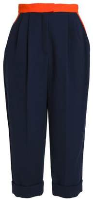 DELPOZO Cropped Two-tone Cotton-blend Crepe Tapered Pants