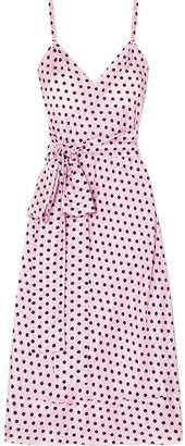 Lee Mathews - Mavis Polka-dot Silk-habotai Midi Dress - Pastel pink
