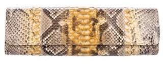 Carlos Falchi Snakeskin Flap Clutch