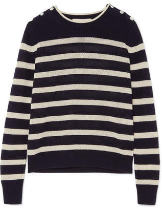 Vanessa Bruno - Izara Striped Waffle-knit Wool And Cashmere-blend Sweater - Midnight blue