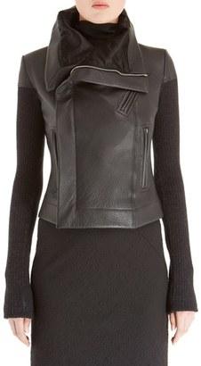 Women's Rick Owens Leather Biker Jacket $3,295 thestylecure.com