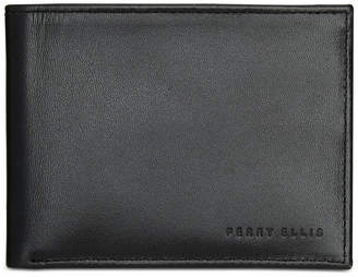Perry Ellis Men's Find Me Leather Bifold Wallet