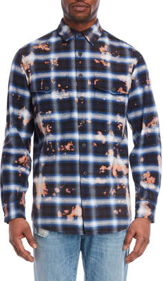 Marcelo Burlon County of Milan Navy Plaid Bleached Shirt