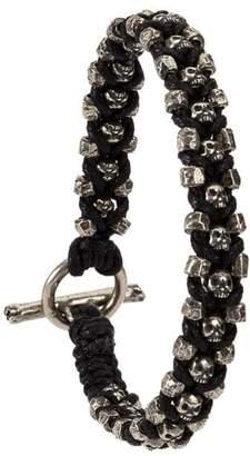 Tobias Wistisen criss cross skulls and beads bracelet