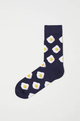 H&M Jacquard-knit Socks - Blue