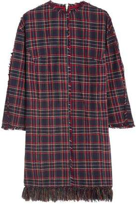 Sjyp Fringed Plaid Brushed-Cotton Dress
