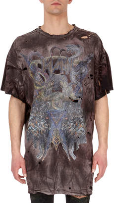Balmain Distressed Faded-Graphic T-Shirt