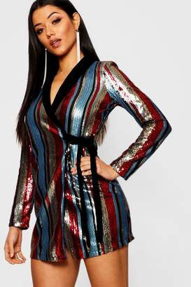 boohoo Sequin Stripe Velvet Collar Blazer Dress