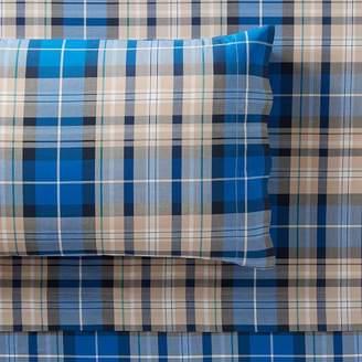 Pottery Barn Teen Fieldhouse Plaid Sheet Set, Bright Blue, Queen