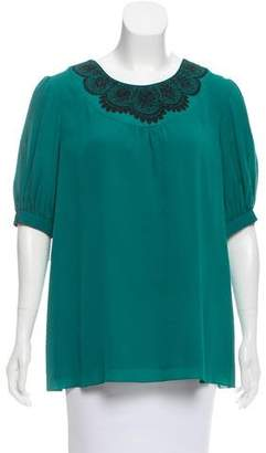 Tibi Short Sleeve Silk Top