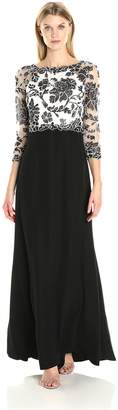 Tadashi Shoji Women's 3/4 Sleeve Embroidered Lace Gown, Black/Ivory