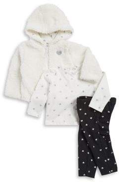 Little Me Baby Girl's Three-Piece Faux Fur Jacket, Top and Leggings Set