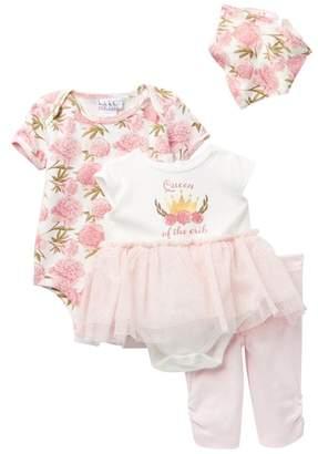 Nicole Miller Queen of the Crib Bodysuits, Pant & Bib Set (Baby Girls)