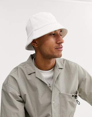 Asos Design DESIGN bucket hat in white faux leather