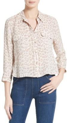 Women's Equipment Signature Crop Silk Shirt $248 thestylecure.com