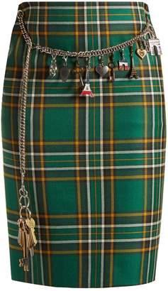 Tartan chain-belt pencil skirt