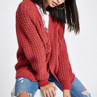 River Island Coral pink cable knit cardigan