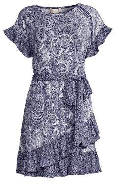 MICHAEL Michael Kors Paisley Mix Print Ruffle Wrap Dress
