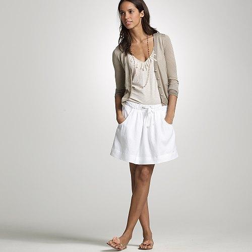 White linen Monterey skirt