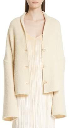 Rosetta Getty Convertible Wool Blend Boucle Cape Coat