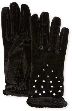 Neiman Marcus Velvet Gloves with Crystals