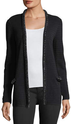 Emporio Armani Hook-Front Striped-Knit Cardigan With Embellished Trim
