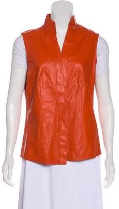 Akris Leather Button-Up Vest