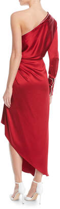 Monse One-Shoulder Long-Sleeve Silk Pajama Gown w/ Piping
