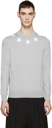 Givenchy Grey Knit Star Sweater $750 thestylecure.com
