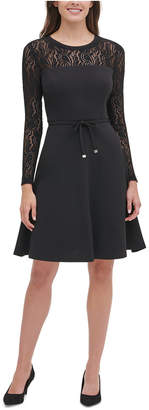 Tommy Hilfiger Petite Lace-Sleeve Fit & Flare Dress