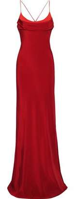 Cushnie Open-back Ring-embellished Two-tone Silk Crepe De Chine Gown