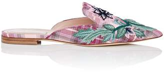 Alberta Ferretti Women's Floral-Embroidered Twill Mules