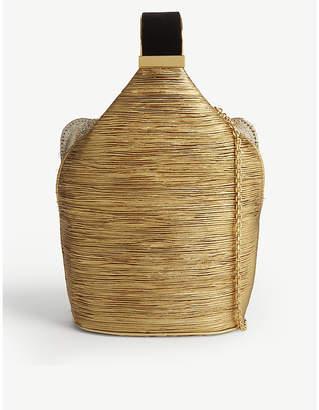 BIENEN DAVIS The Kit gold pleated lurex and brass bracelet bag